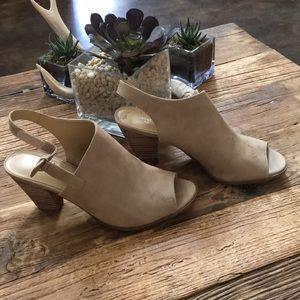 Peep toe suede heels